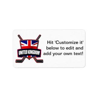 Hockey sobre hielo británico Reino Unido Etiqueta De Dirección