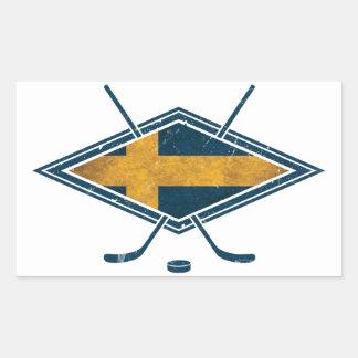 Hockey sobre hielo de Sverige del sueco Rectangular Pegatinas