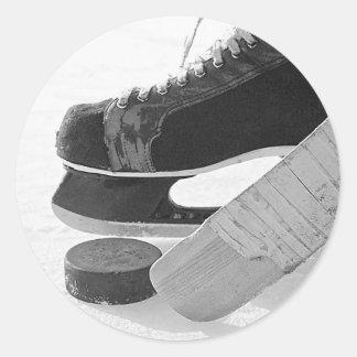 Hockey sobre hielo pegatinas redondas