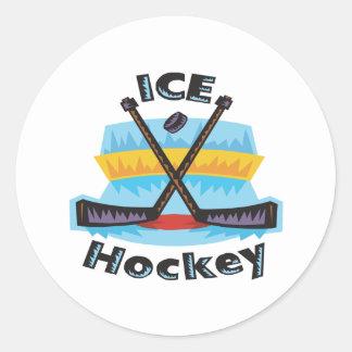 Hockey sobre hielo etiquetas redondas