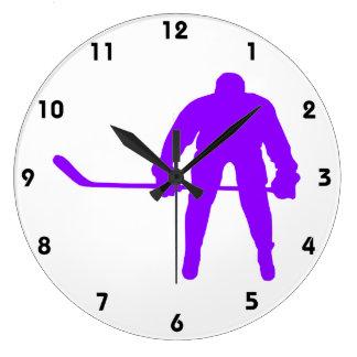 Hockey sobre hielo púrpura violeta reloj redondo grande