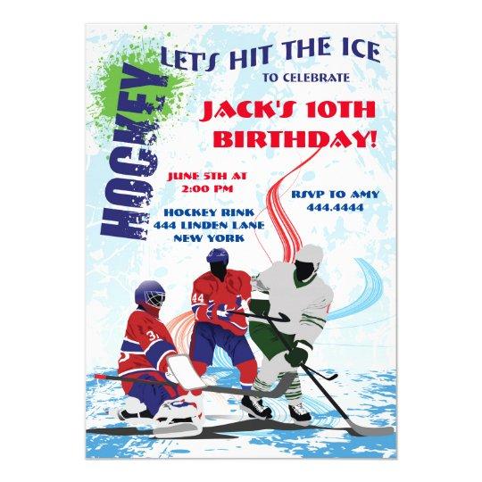 Hockey Sports Birthday Party Invitations Zazzle Com