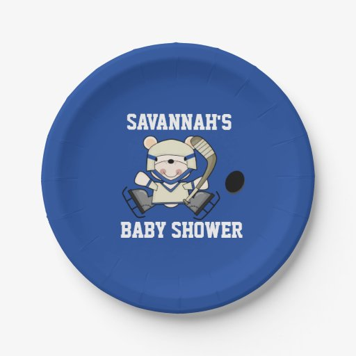 Hockey Sports Polar Bear Baby Shower Paper Plate