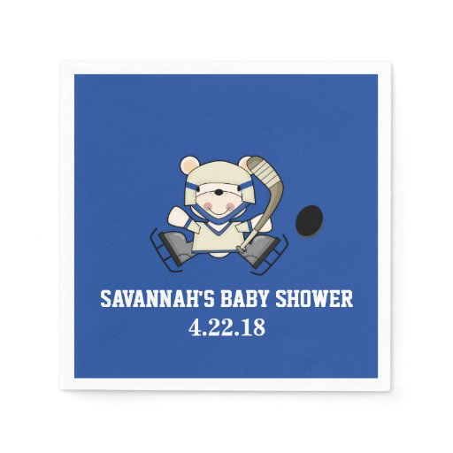 Hockey Sports Polar Bear Custom Party Napkin
