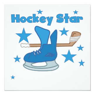 Hockey Star T-shirts and Gifts Personalized Invitation