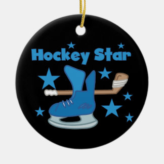 Hockey Star T-shirts and Gifts Double-Sided Ceramic Round Christmas Ornament