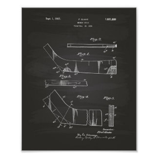 Hockey Stick 1929 Patent Art  - Chalkboard Poster