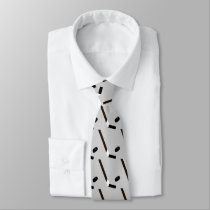 Hockey Stick and Puck Custom Patterned Tie