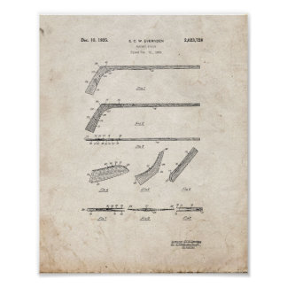 Hockey Stick Patent - Old Look Poster