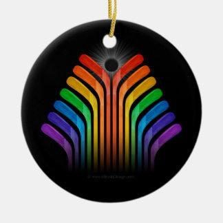 Hockey Stick Spectrum Double-Sided Ceramic Round Christmas Ornament
