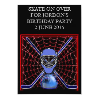 Hockey sticks and net 5x7 paper invitation card