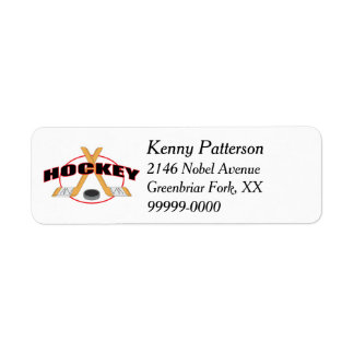 Hockey Sticks and Puck 4 Line Label