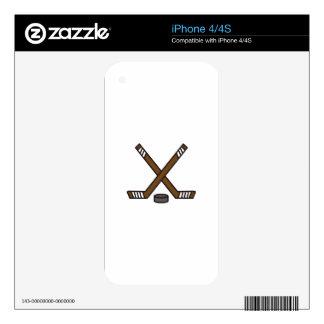 Hockey Sticks and Puck iPhone 4S Skin