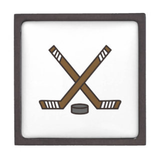 Hockey Sticks and Puck Keepsake Box