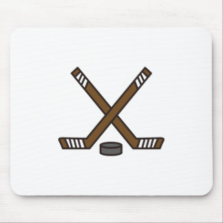 Hockey Sticks and Puck Mouse Pad