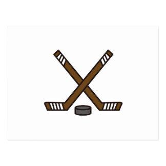 Hockey Sticks and Puck Postcard