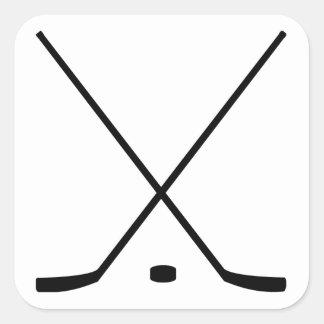 Hockey Sticks And Puck Square Sticker