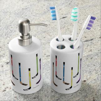 Hockey Sticks Bathroom Soap Dispenser And Toothbrush Holder