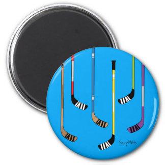 Hockey Sticks Locker Fridge 2 Inch Round Magnet