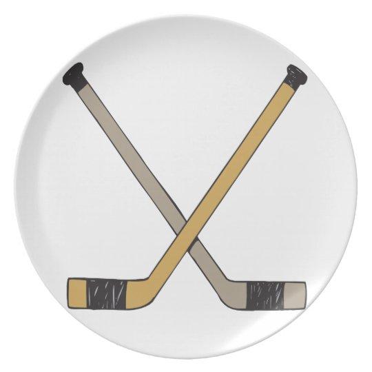 Hockey Sticks Melamine Plate