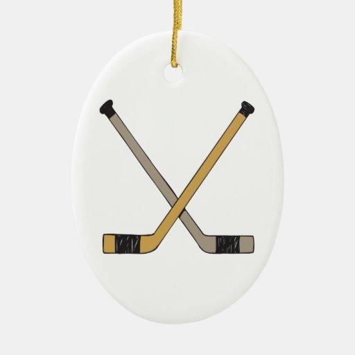 Hockey Sticks Double-Sided Oval Ceramic Christmas Ornament