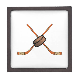 Hockey Sticks & Puck Keepsake Box