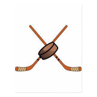 Hockey Sticks & Puck Postcard