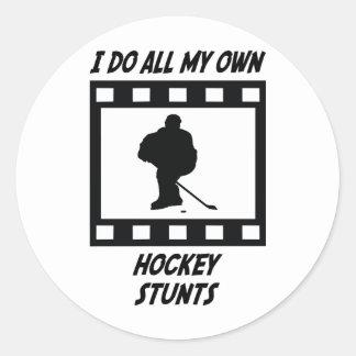 Hockey Stunts Round Stickers