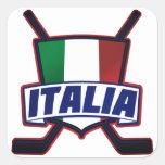 Hockey su Ghiaccio de Italia Calcomanías Cuadradas Personalizadas