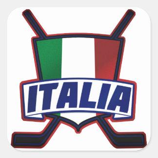 Hockey su Ghiaccio de Italia Pegatina Cuadrada