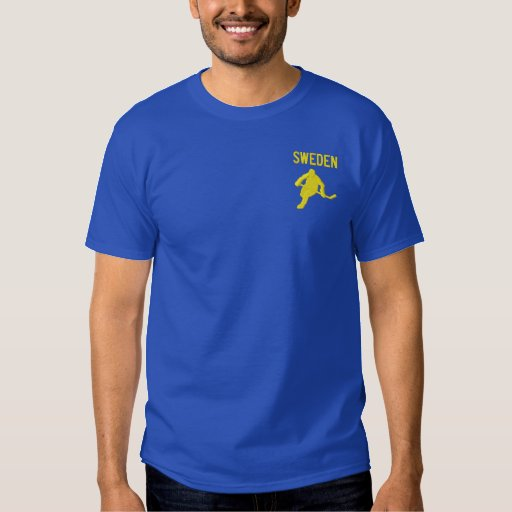 Hockey , Sweden - Customizable Embroidered T-Shirt