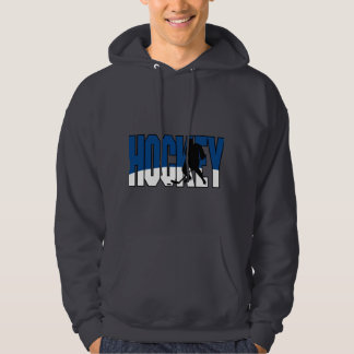 hockey text blue hoodie