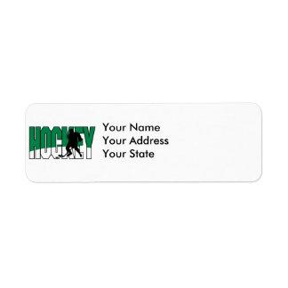 hockey text green custom return address label