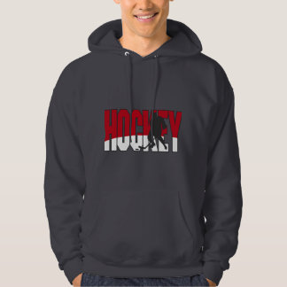 hockey text red hoodie