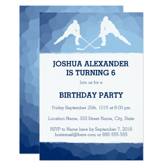Hockey Theme Party Invitation
