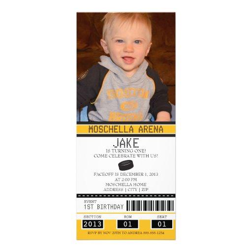 Hockey Ticket Birthday Invitation