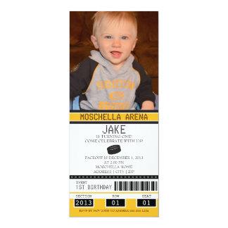 Hockey Ticket Birthday 4x9.25 Paper Invitation Card