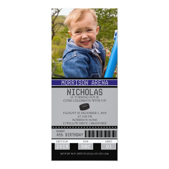 Hockey Ticket Birthday Invitation