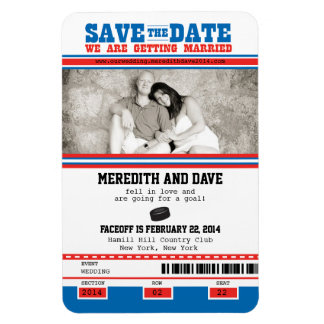 Hockey Ticket Photo Save the Date Rectangular Photo Magnet