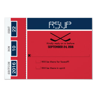 Hockey Ticket Wedding RSVP 3.5x5 Paper Invitation Card