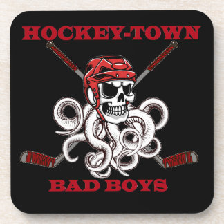 Hockey-Town Bad Boys black coasters