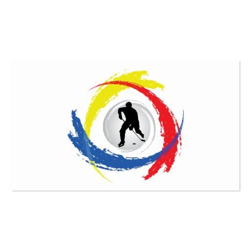 Hockey Tricolor Emblem Business Card