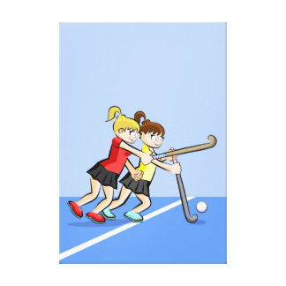 Hockey two children competing by the ball canvas print