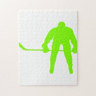 Hockey verde chartreuse de neón rompecabezas con fotos