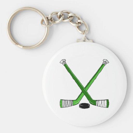 Hockey verde llavero redondo tipo pin