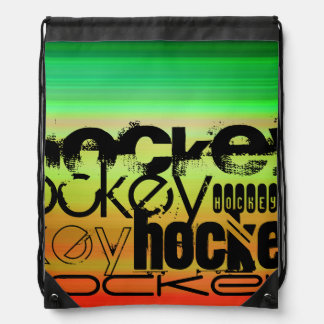 Hockey; Vibrant Green, Orange, & Yellow Drawstring Bag