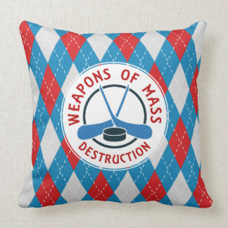 Hockey Weapons of Destruction Throw Pillow