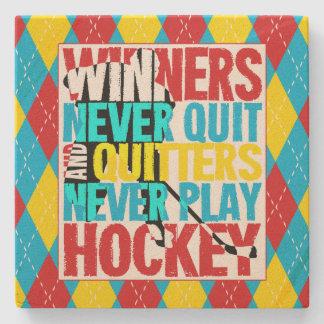 Hockey Winners Never Quit Stone Coaster