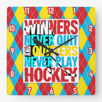 Hockey Winners Never Quit Wall Clock
