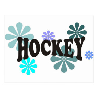 Hockey with Blue Flowers Postcard
